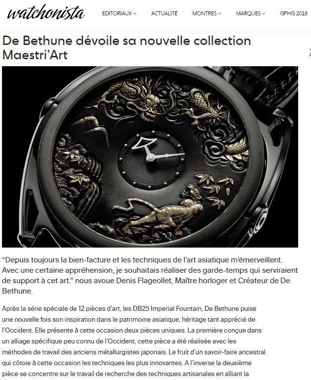 De Bethune dévoile sa nouvelle collection Maestri'Art
