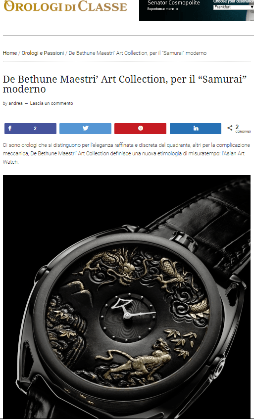 "De Bethune Maestri' Art Collection, per il ""Samurai"" moderno"
