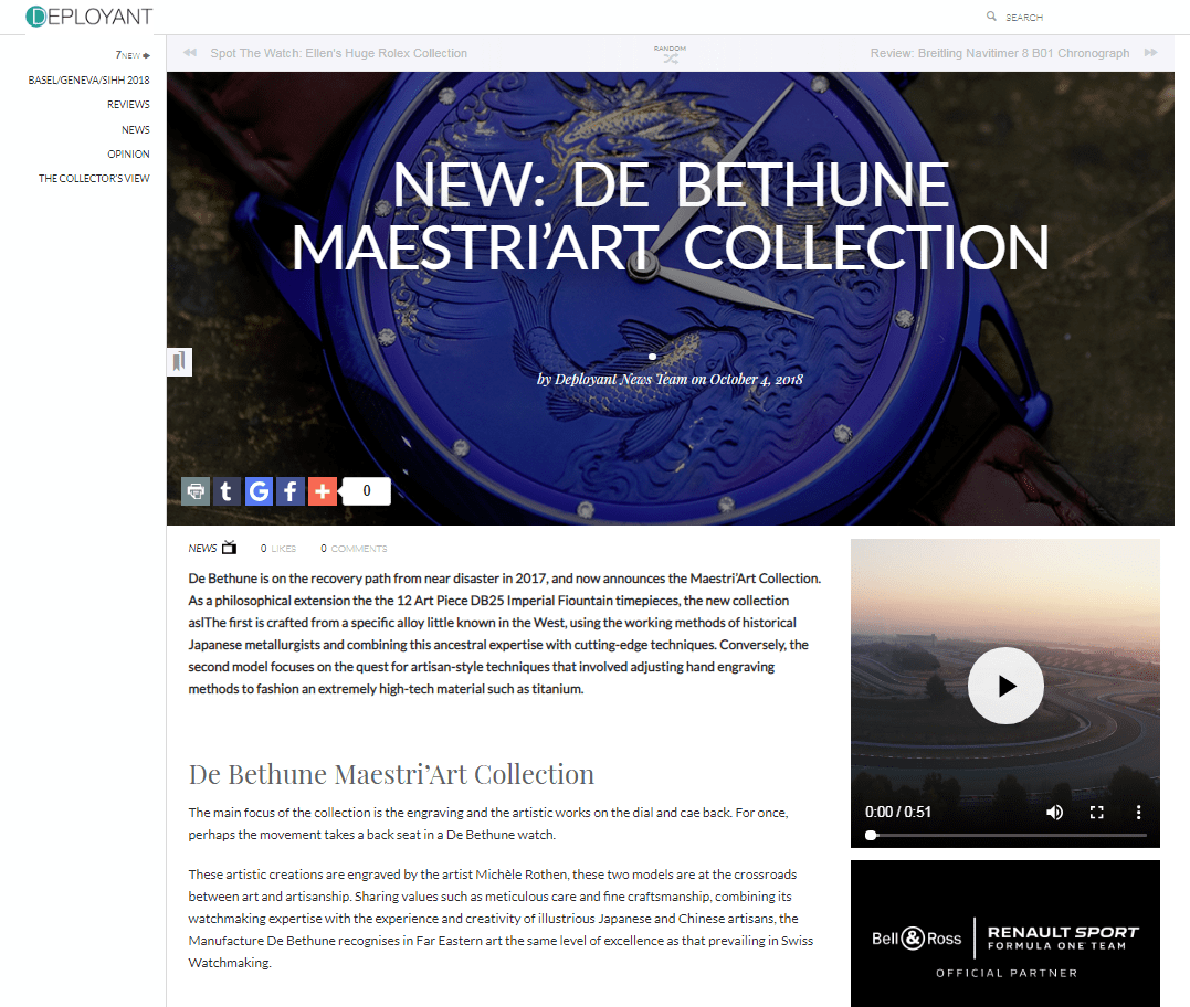 New: De Bethune Maestri'Art Collection